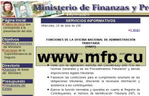 Portal del Ministerio de Finanzas y Precios